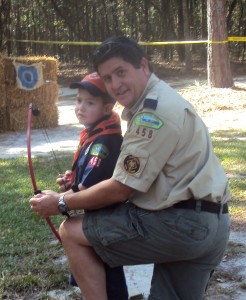 Caden and Daddy on the Archery Range