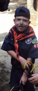 Caden getting ready to fire a wrist rocket