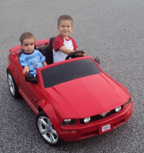 Josiah and Levi in the Toy Red Mustang