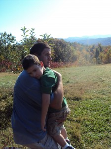 Daddy and Caden at Sky Top Orchard Oct 2011 in Hendersonville, NC