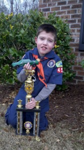 Caden with his 3rd place overall trophy