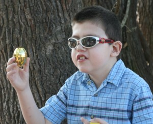 Caden with Golden Easter Egg