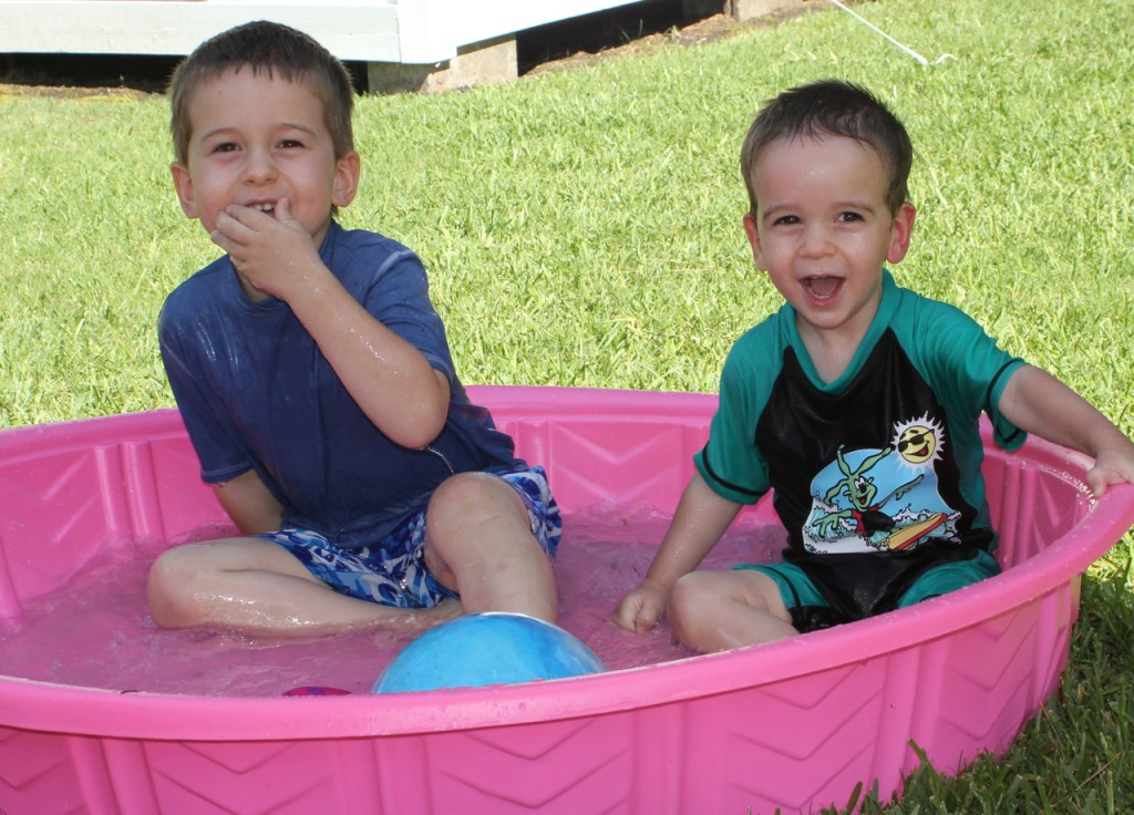 Josiah and Levi in a Pink Pool