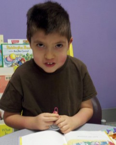 Caden with his sensory fidget