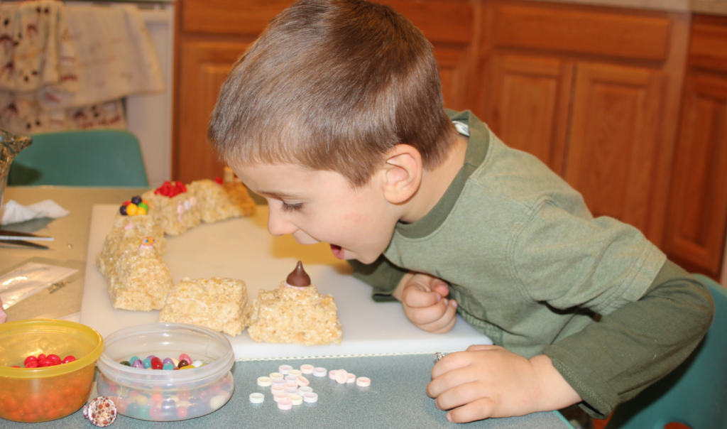 Josiah decorating the Rice Krispies Train